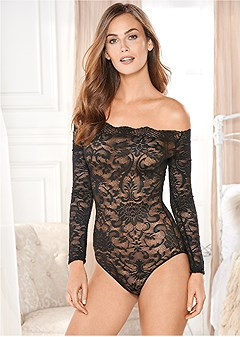 off-shoulder lace bodysuit