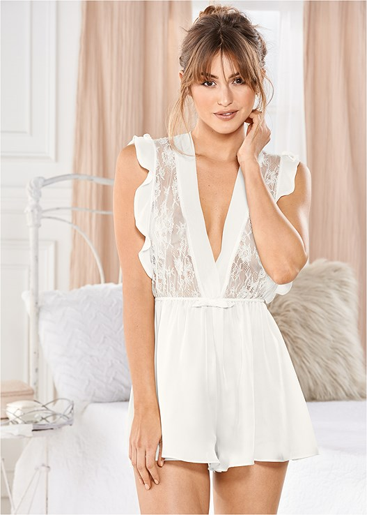 3ca093d204 Off White RUFFLES AND LACE ROMPER