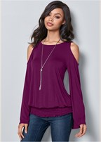 cold shoulder blouson top