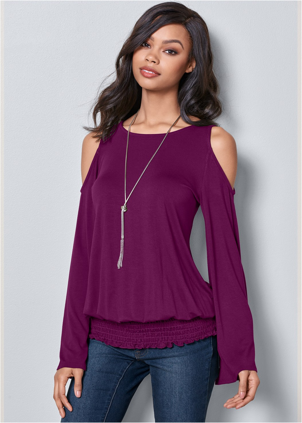 Cold Shoulder Blouson Top,Mid Rise Color Skinny Jeans,Smooth Longline Push Up Bra