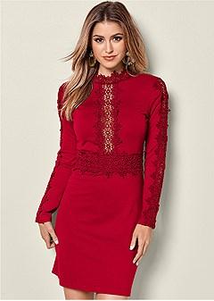 mock neck lace detail dress