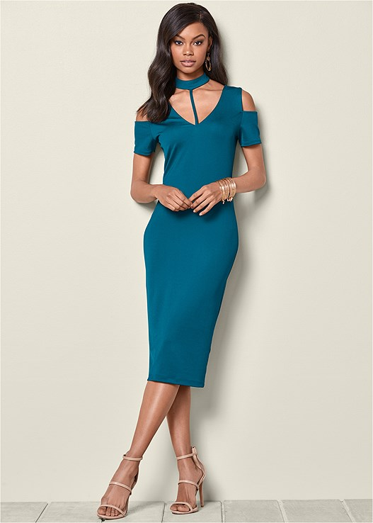 MOCK NECK MIDI DRESS,HIGH HEEL STRAPPY SANDALS