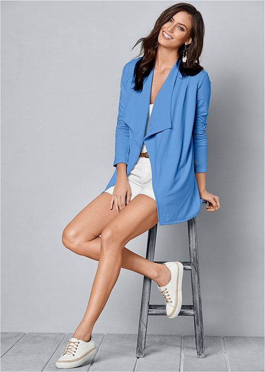 DRAPE FRONT CARDIGAN,BELTED CUFFED SHORTS