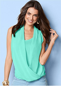 sheer draped overlay top