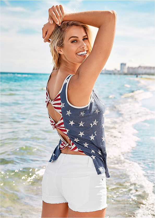 Stars And Stripes Knit Top,Frayed Cut Off Jean Shorts,Frayed Hem Denim Skirt,Denim Sandal