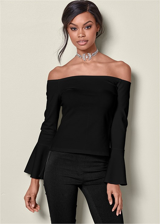 TRUMPET SLEEVE TOP,EVERYDAY YOU STRAPLESS BRA