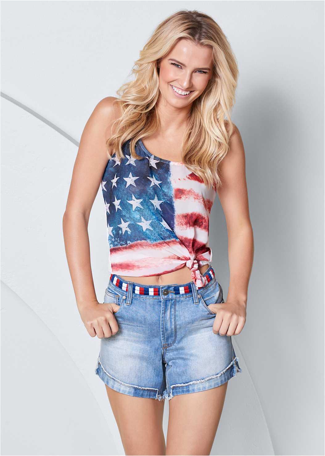 Waistband Detail Shorts,American Flag Tank