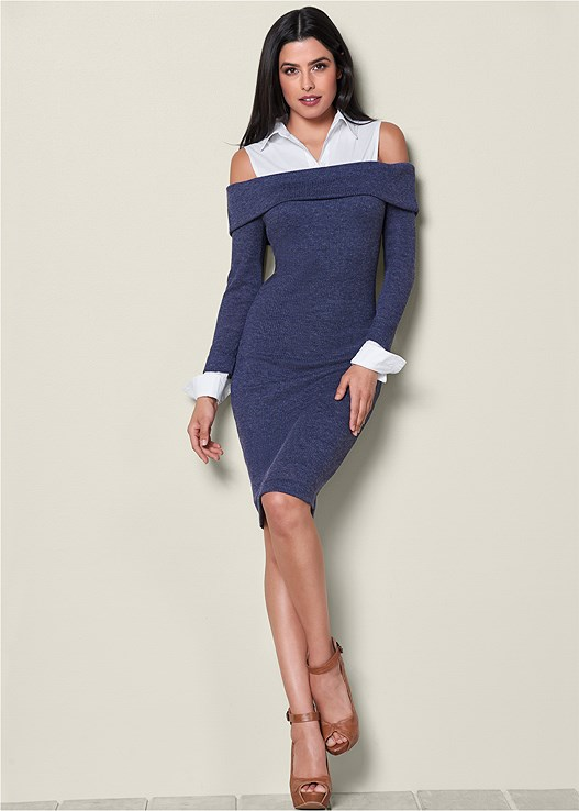 COLLAR DETAIL SWEATER DRESS,PEEP TOE ANKLE STRAP HEEL