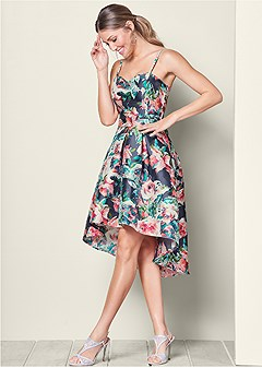 high low floral print dress