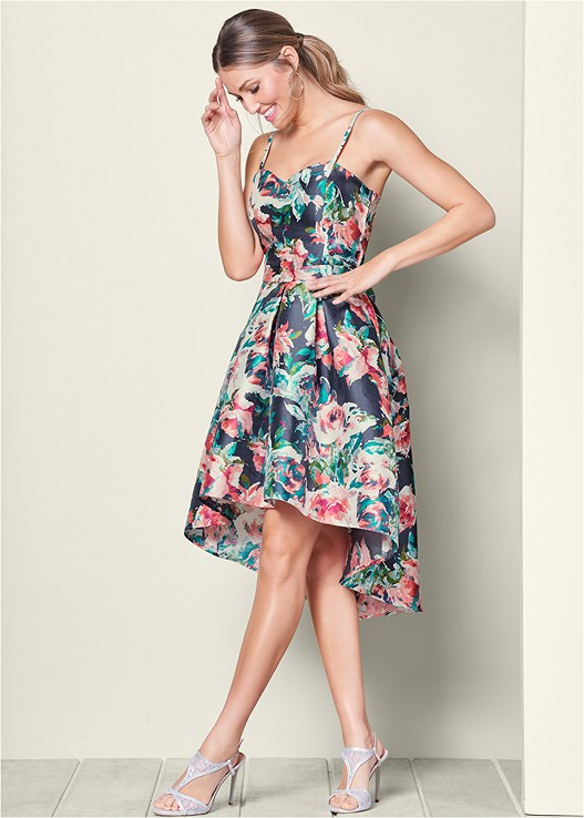 9d0956062 HIGH LOW FLORAL PRINT DRESS in Navy & Coral | VENUS