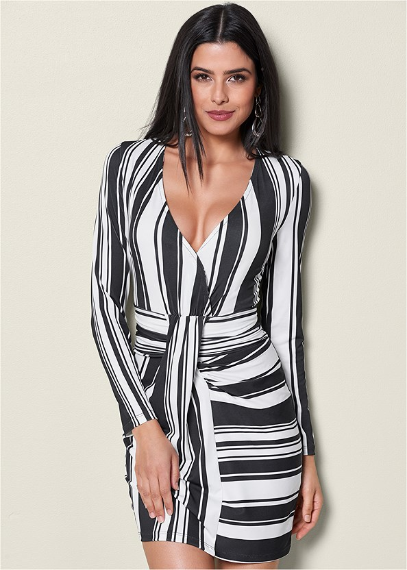 Stripe Bodycon Dress,Seamless Full Body Shaper,Lucite Detail Heels,Buckle Detail Boots