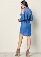 lace up denim dress
