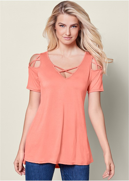 7b5d4ed0efb5e STRAPPY COLD SHOULDER TOP in Coral