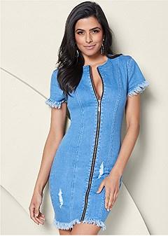 zipper detail denim dress