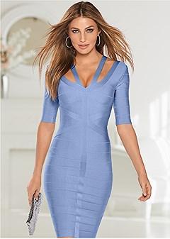 slimming strap detail dress
