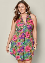plus size sleeveless knot front dress
