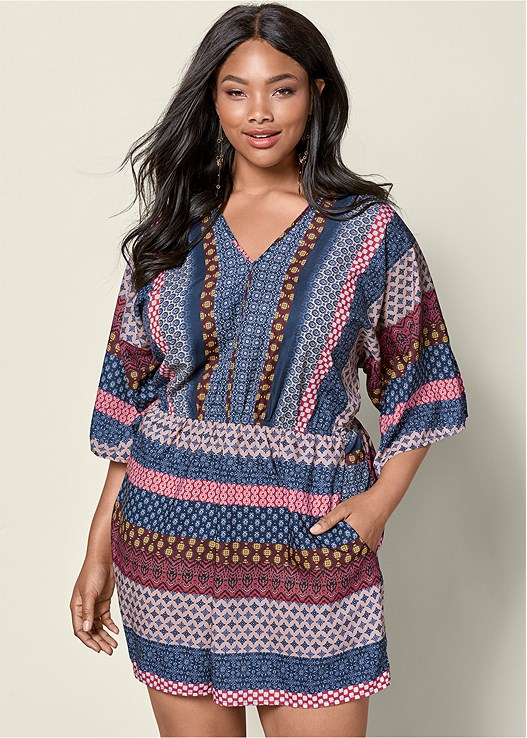 9cb2d28276ec Plus Size MIXED PRINT ROMPER in Navy Multi