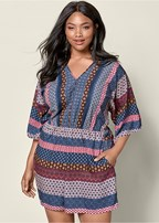 plus size mixed print romper
