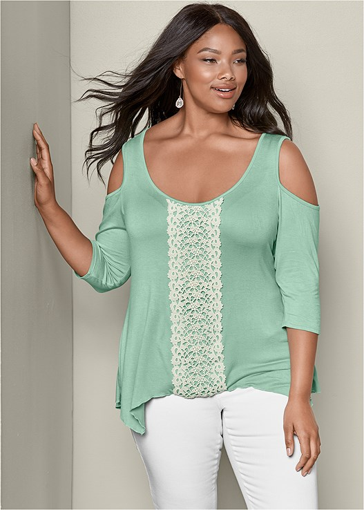 7e78da9690329c Green COLD SHOULDER CROCHET TOP from VENUS