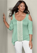 plus size cold shoulder crochet top