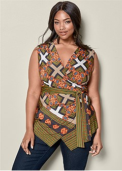 plus size tie waist top