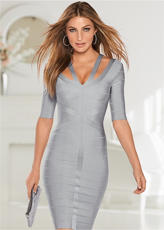 19456304c85 SLIMMING STRAP DETAIL DRESS in Light Grey