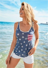 Front view Stars And Stripes Knit Top