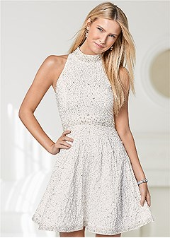 all over beaded dress