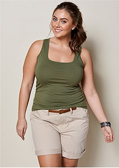 plus size square neck tank top