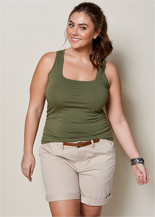 7eab8b90468b2 Plus Size SQUARE NECK TANK TOP