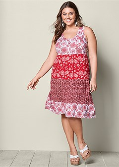 plus size printed casual dress