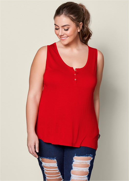 62d2f8f4662 Plus Size HENLEY TANK TOP