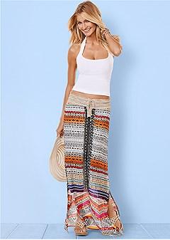 crochet detail print skirt