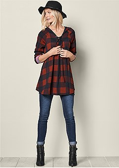 lace up plaid tunic hoodie