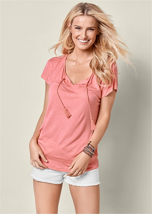 TIE FRONT TOP TWO PACK,CUT OFF JEAN SHORTS
