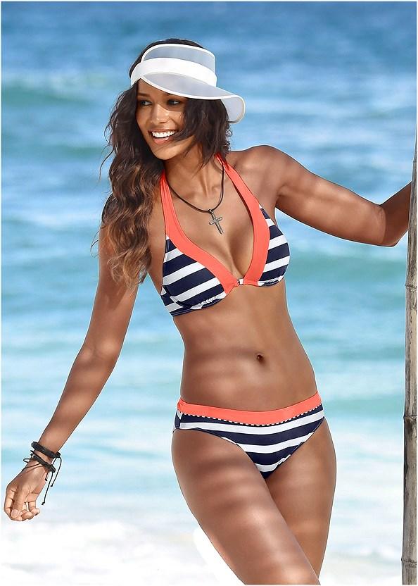 Mid Rise Bikini Bottom,Underwire Halter Bikini Top,Zip Front Bikini Top,Strappy Triangle Bikini Top