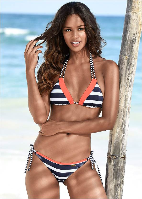 String Side Bikini Bottom,Strappy Triangle Bikini Top,Underwire Halter Bikini Top,Zip Front Bikini Top,Santa Cruz Wrap Top,Cold Shoulder Cover-Up