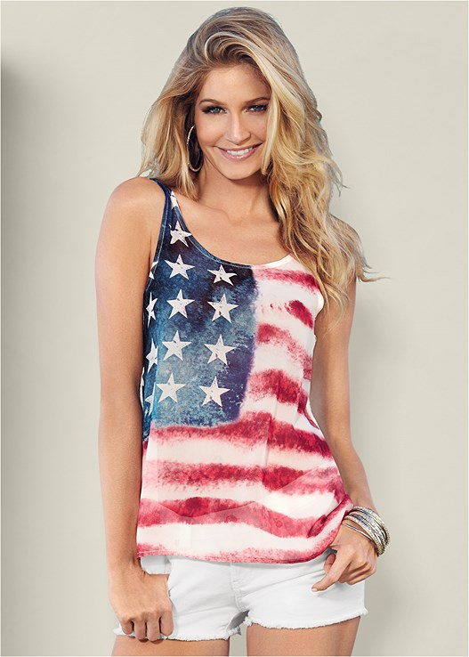 AMERICAN FLAG TANK,CUT OFF JEAN SHORTS