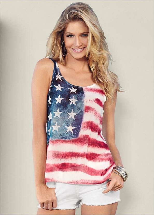 American Flag Tank,Frayed Cut Off Jean Shorts