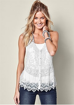be60f39e7eba lace button front top