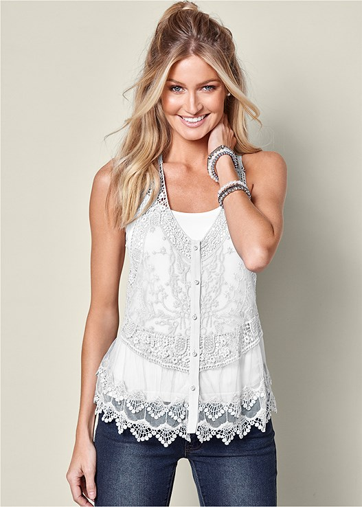 LACE BUTTON FRONT TOP,SEAMLESS CAMI