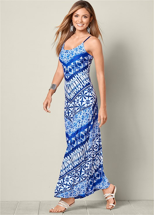 Tribal Print Maxi Dress in Blue Multi | VENUS