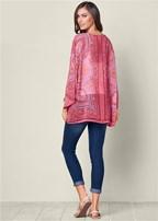scarf print kimono topper