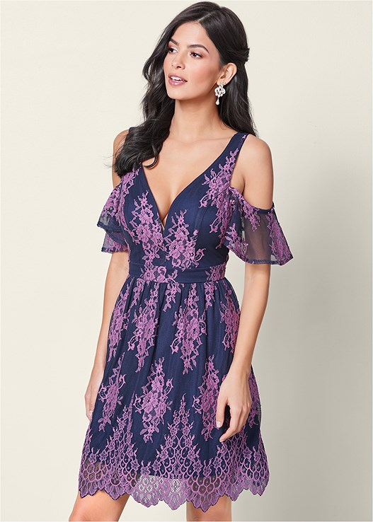 COLD SHOULDER LACE DRESS,CUPID BACKLESS U PLUNGE BRA