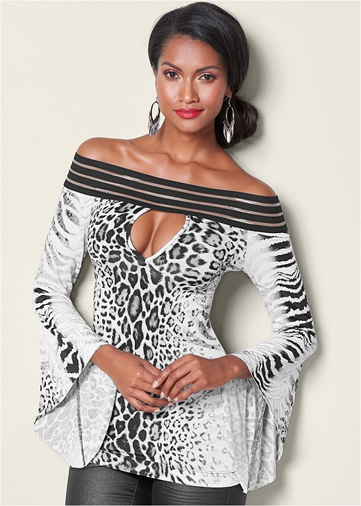 OFF THE SHOULDER PRINT TOP,CUPID BACKLESS U PLUNGE BRA