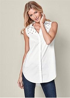 grommet tunic blouse