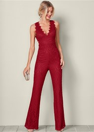 Front view Open Back Lace Jumpsuit