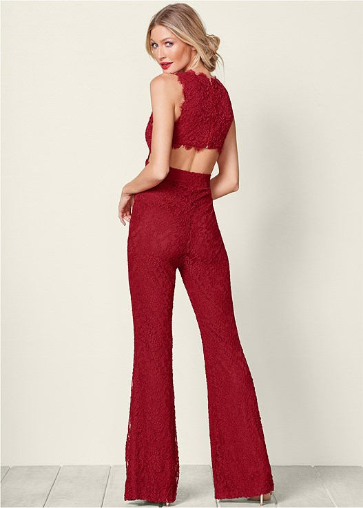 LACE JUMPSUIT,HIGH HEEL STRAPPY SANDAL,EMBELLISHED EVENING CLUTCH,KISSABLE SMOOTH EDGES DEMI