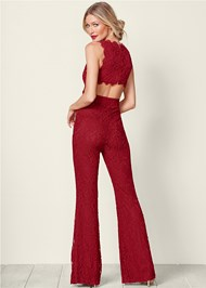 Back view Open Back Lace Jumpsuit