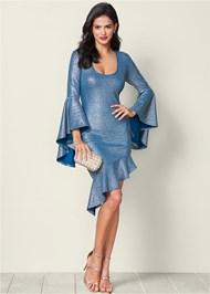 Front View Metallic Detail Dress